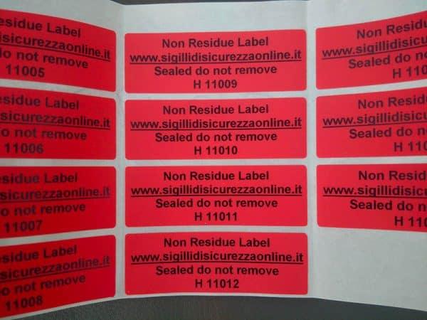 Etichette Sicurezza Senza Residuo Numerate